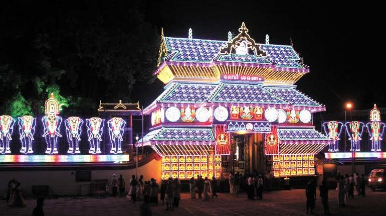 Paramekkavu Bhagavathy temple gets ready for the pooram. Picture Credits: Deccan Chronicle