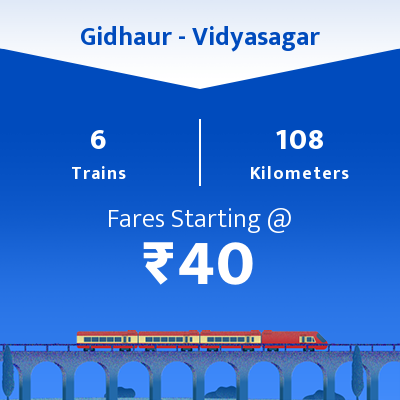 Gidhaur To Vidyasagar Trains
