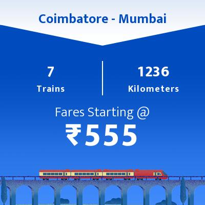 7 Coimbatore to Mumbai Train Time Table, Seat Availability