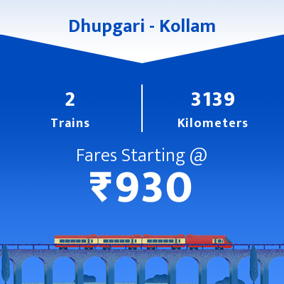 Dhupgari To Kollam Trains
